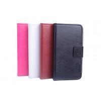 Кожаный чехол флип подставка на пластиковой основе с отделением для карт и магнитной застежкой для Alcatel One Touch Pop C5