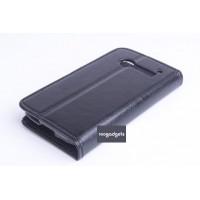 Кожаный чехол флип подставка на пластиковой основе с отделением для карт и магнитной застежкой для Alcatel One Touch Pop C5 Черный