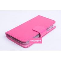Кожаный чехол флип подставка на пластиковой основе с отделением для карт и магнитной застежкой для Alcatel One Touch Pop C5 Пурпурный