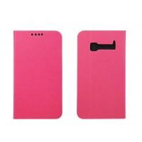 Чехол флип подставка с отделением для карт на пластиковой основе для Alcatel One Touch Pop C5 Розовый