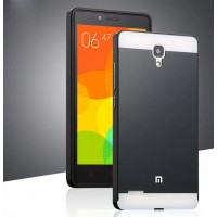 Двухкомпонентный чехол с металлическим бампером и поликарбонатной накладкой для Xiaomi RedMi Note Черный