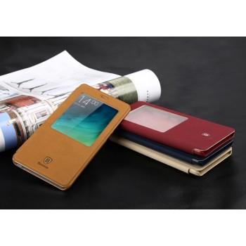 Чехол смартфлип подставка винтажный на пластиковой основе с окном вызова для Xiaomi Mi Note