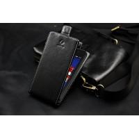 Кожаный чехол вертикальная книжка для Lenovo A319 Черный