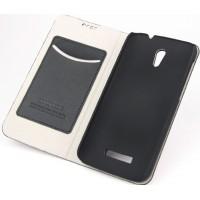 Чехол флип подставка текстурный на пластиковой основе с отделением для карт для Alcatel One Touch Pop S7