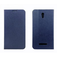 Чехол флип подставка текстурный на пластиковой основе с отделением для карт для Alcatel One Touch Pop S7 Синий