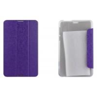 Чехол флип подставка сегментарный текстурный на пластиковой полупрозрачной основе для Asus FonePad 8 Фиолетовый