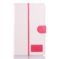 Чехол флип подставка на силиконовой основе с отделениями для карт и магнитной застежкой для планшета Asus FonePad 8 Белый