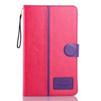 Чехол флип подставка на силиконовой основе с отделениями для карт и магнитной застежкой для планшета Asus FonePad 8 Пурпурный