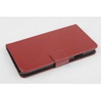 Чехол портмоне подставка на пластиковой основе с магнитной защелкой для Explay Rio Коричневый