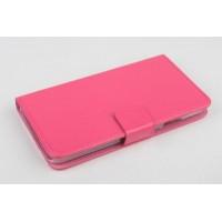 Чехол портмоне подставка на пластиковой основе с магнитной защелкой для Explay Rio Пурпурный