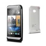 Пластиковый чехол/экстра аккумулятор (4200 мАч) с подставкой для HTC One (M7) Dual SIM