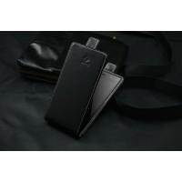 Кожаный чехол вертикальная книжка на клеевой основе с магнитной застежкой для Highscreen Zera S Черный