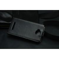 Кожаный чехол вертикальная книжка на клеевой основе с магнитной застежкой для Highscreen Zera F Черный