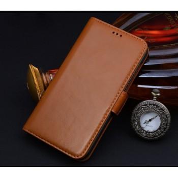 Кожаный чехол портмоне (нат. кожа) подставка на пластиковой основе для Samsung Galaxy E5