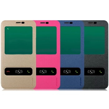 Чехол флип с окном вызова и свайпом на присоске для Samsung Galaxy E5