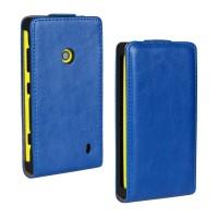 Глянцевый чехол вертикальная книжка на пластиковой основе с застежкой для Nokia Lumia 520 Синий