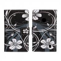 Текстурный чехол флип с дизайнерской застежкой для Nokia Lumia 520 Белый