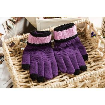 Шерстяные сенсорные (трехпальцевые) перчатки с вышивкой