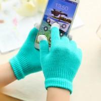Хлопковые-акриловые сенсорные (трехпальцевые) перчатки серия Color Xplosion бирюзовые для Samsung Galaxy Grand (Duos, GT-I9080, GT-I9082, I9080, i9082)