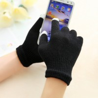 Хлопковые-акриловые сенсорные (трехпальцевые) перчатки серия Color Xplosion черные для Samsung Galaxy Grand (Duos, GT-I9080, GT-I9082, I9080, i9082)