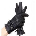 Мужские кожаные сенсорные перчатки на кнопке размер L