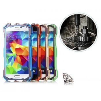 Ультразащитный антиударный металлический каркас с карабином под ремешок и прямым доступом к разъемам для Samsung Galaxy S5 (Duos)
