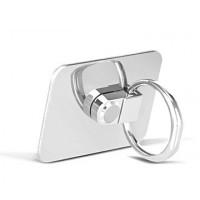 Глянцевое металлическое антиграбежное клеевое кольцо-подставка для одноручного управления гаджетом Белый