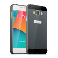 Двухкомпонентный чехол с металлическим бампером и поликарбонатной накладкой с отверстием под лого для Samsung Galaxy A3 Черный