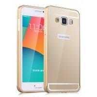 Двухкомпонентный чехол с металлическим бампером и поликарбонатной накладкой для Samsung Galaxy A3 Бежевый