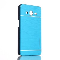 Пластиковый чехол текстура Металл для Samsung Galaxy Core 2 Голубой