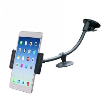 Универсальный автомобильный держатель с дополнительной опорой на вакуумной присоске и гибком штативе для планшетов 9-10 дюймов