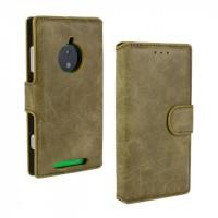 Чехол портмоне подставка винтажный с защелкой для Nokia Lumia 830 Зеленый