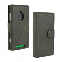 Чехол портмоне подставка винтажный с защелкой для Nokia Lumia 830 Серый