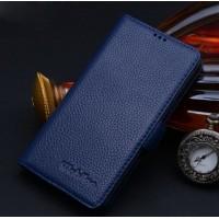 Кожаный чехол портмоне (нат. кожа) для Samsung Galaxy S6 Edge Синий