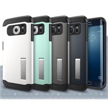 Силиконовый премиум чехол с поликарбонатной крышкой с повышенной защитой и ножкой-подставкой для Samsung Galaxy S6 Edge