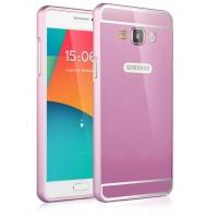 Двухкомпонентный чехол с металлическим бампером и поликарбонатной накладкой Яблоко и лого-отверстием для Samsung Galaxy A5 Пурпурный