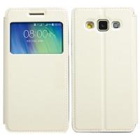 Чехол флип подставка на силиконовой основе с окном вызова для Samsung Galaxy A5 Белый