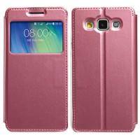 Чехол флип подставка на силиконовой основе с окном вызова для Samsung Galaxy A5 Пурпурный