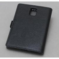 Кожаный чехол горизонтальная книжка (нат. кожа) с крепежной застежкой для Blackberry Passport Черный