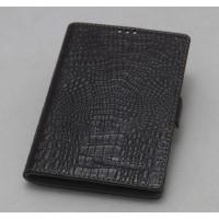 Кожаный чехол горизонтальная книжка (нат. кожа крокодила) с крепежной застежкой для Blackberry Passport Коричневый
