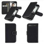Кожаный чехол портмоне (нат. кожа) с крепежной застежкой для Blackberry Classic