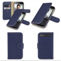 Кожаный чехол портмоне (нат. кожа) с крепежной застежкой для Blackberry Classic Синий