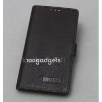 Кожаный чехол горизонтальная книжка (нат. кожа) с крепежной застежкой для Meizu MX4 Pro Черный