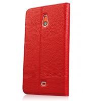 Кожаный чехол горизонтальная книжка (нат. кожа) с крепежной застежкой для Nokia Lumia 1320 Красный