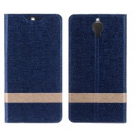 Текстурный дизайнерский чехол флип подставка на пластиковой основе для LG Spirit Синий