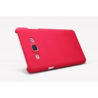Пластиковый матовый нескользящий премиум чехол для Samsung Galaxy E7 Красный