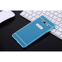 Двухкомпонентный чехол с металлическим бампером и поликарбонатной накладкой для Samsung Galaxy E7 Голубой
