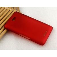 Пластиковый матовый металлик чехол для Sony Xperia E4 Красный