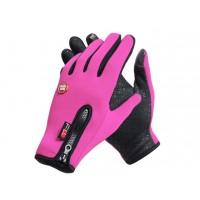Спортивные нескользящие ветрозащитные водоотталкивающие сенсорные (двухпальцевые) перчатки размер M