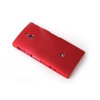 Пластиковый матовый непрозрачный чехол для Sony Xperia P Красный